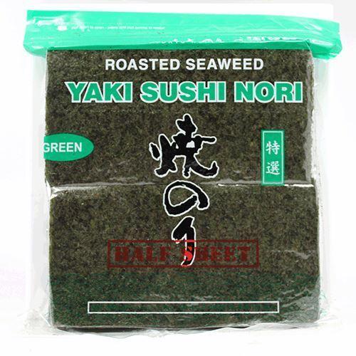 Yaki Sushi Nori (Roasted Seaweed) Green (1000 Half Sheets)