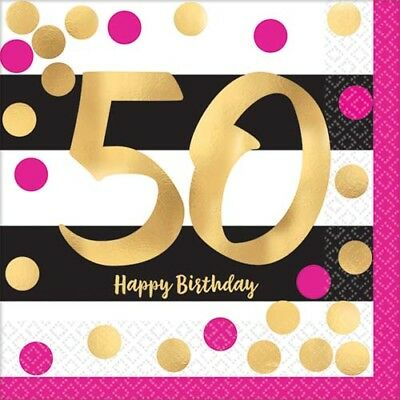 HOT PINK AND GOLD 50th BIRTHDAY SMALL NAPKINS (16) ~ Birthday Party Supplies OTH - Pink And Gold Birthday Party Supplies