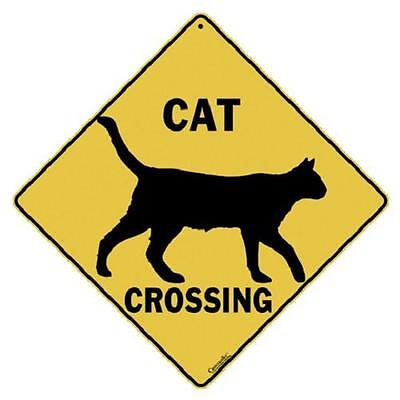 "Cat  Silhouette Metal Crossing Sign 16 1/2"" x 16 1/2"" Diamond Shape USA #311"