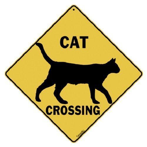 "Cat Silhouette Metal Crossing Sign 16 1/2"" x 16 1/2"" (HANGING) Diamond  USA #311"