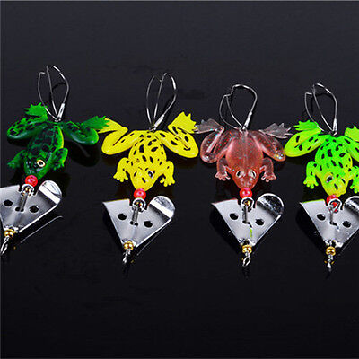 Good 4 x Fishing Lures Set Rubber Soft Frog Bass SpinnerBait Tackle CA