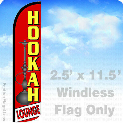 Hookah Lounge Windless Swooper Flag Feather Banner Sign 2.5x11.5 Rz