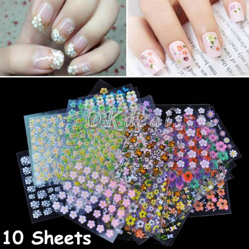 Exquisite 10 Sheets 3D Art Manicure fingernail Decoration Mixed Decal Stickers