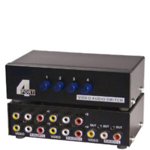 4way/Port ABCD manual switch box,3/Triple RCA A/V,Audio/Video/Stereo,DVD/HD​TV