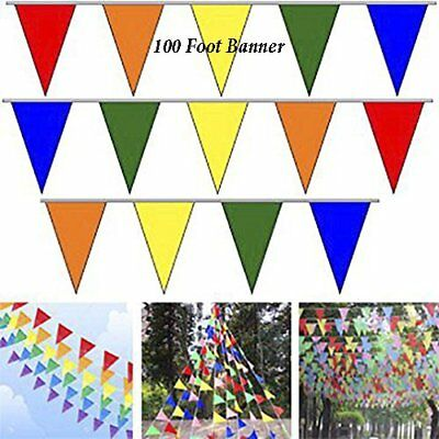 100' Multi Color Flag Pennant Banner Party Decor Birthday Party Garage Sale - Sale Decorations