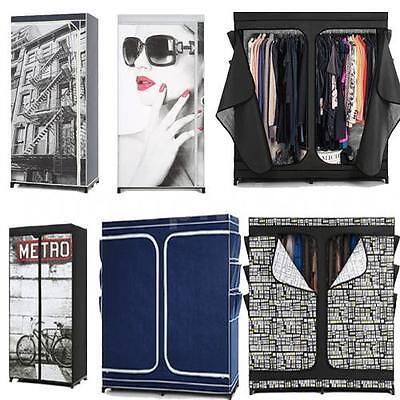 - Portable Single/Double Fabric Clothes Closet Wardrobe Cabinet Organizer Q6X8