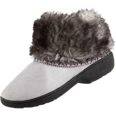 ISOTONER Microsuede Basil Low BOOT Style Slipper Shoe Stormy GRAY w Faux Fur