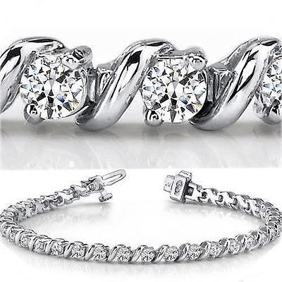 7.2 carat Round Diamond Tennis 18k White Gold Bracelet 24 x 0.30 ct E-F VS GIA