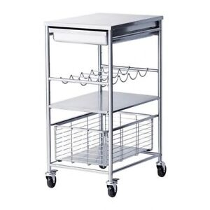 Stainless Steel Kitchen Cart with Wine Rack