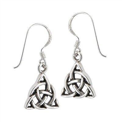925 Sterling Silver CELTIC TRIQUETRA IRISH TRINITY Knot work Earrings Dangle Celtic Knotwork Silver Earrings