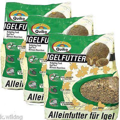Quiko Igelfutter 3 x 600g Beutel Winterfutter Hochwertige Vollnahrung für Igel
