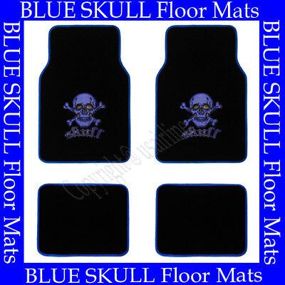 4 PCS BLUE SKULL FLOOR MATS FOR CAR / SUV / TRUCK  BEST QUALITY