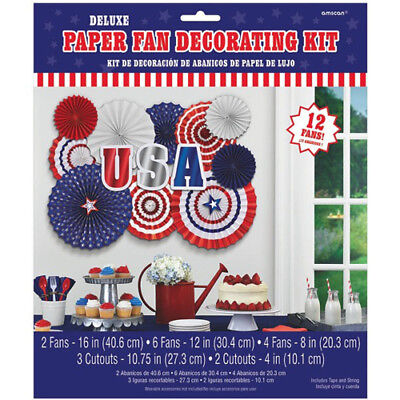 4th Of JULY USA DELUXE PAPER FAN DECORATING KIT 17pc Birthday Party Supplies