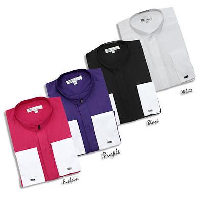 Men's Hidden Button French Cuff Mandarin Collar/Collarless Dress Shirt -