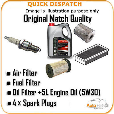 AIR OIL FUEL FILTERS 5L OIL  +4 X PLUGS FOR CITROEN NEMO 1.4 2008- AOF1402