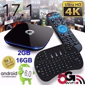 Q-BOX ANDROID 6.0 TV BOX WIFI 2017 KODI 16.1 WITH WIFI MINI KEYBOARD BRAND NEW WITH RECEIPT