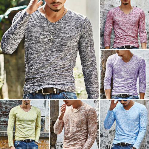 $9.99 - Men's Casual V-Neck Long Sleeve Shirts Slim Fit T-Shirt Fashion Tops Blouse Tee