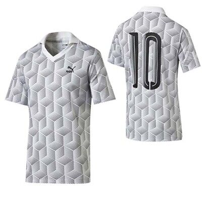 Puma Football Jersey Mens Short Sleeve White Print Polo T-Shirt 570411 02 R10L