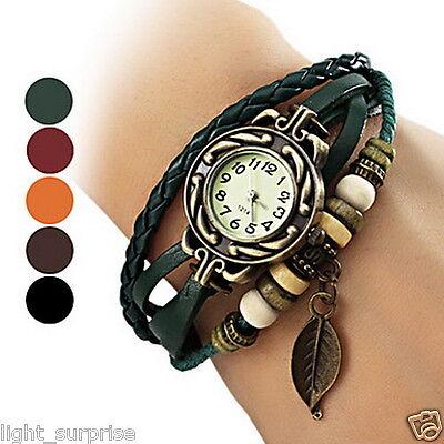 Women's Bohemian Leaf Pendent Leather Weave Bracelet Cool Unique Fashion Watch