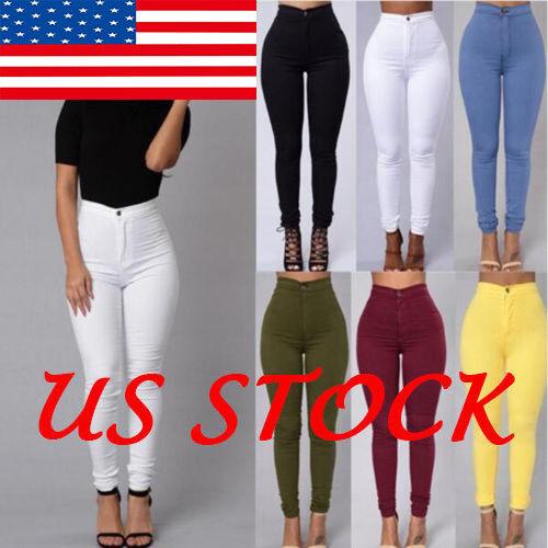 Pencil Jeans Women Stretch Casual Denim Skinny Pants High Wa