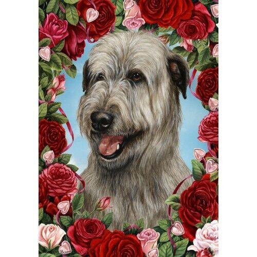 Roses Garden Flag - Grey Irish Wolfhound 193291