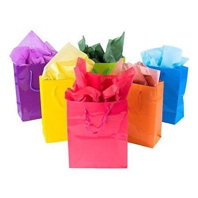 Colored Paper Bags (12pk Assorted Bright Neon Colored Party Paper Gift Bags Wrapping Supplies)