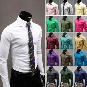 ST124-New-Mens-Luxury-Casual-Slim-Fit-Stylish-Dress-Shirts-17-Colors-4-Size