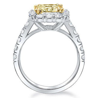 4.01 Ct. Cushion Cut Fancy Intense Yellow Diamond Halo Engagement Ring GIA SI2   1