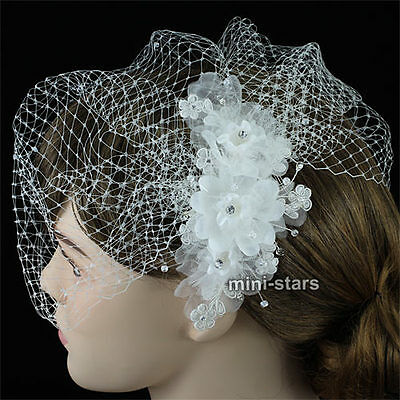 Bridal Birdcage Netting Veil & White Feathers Fascinator Satin Flower AT1576