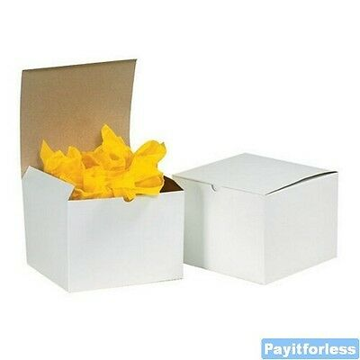 7 X 7 X 7 White Merchandise Retail Packaging Chipboard Gift Boxes 100 Pc
