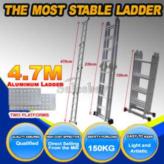 4.7/5.8M Adjustable Configuration Folding Aluminium Ladder