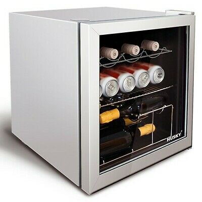 Husky HU281 Table Top Mini Drinks Cooler Fridge Silver With Glass Door Silver