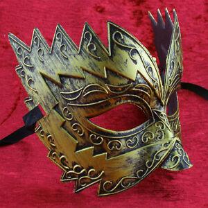 Gold Titan Mens masquerade mask burnished Venetian eye mask masked ball Male