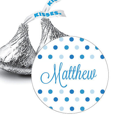 108 Personalized Baby Boy Shower Hershey Kiss Stickers Favors Blue Polka Dots (Personalized Baby Shower Favors)