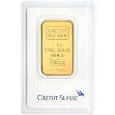 1 oz Gold Bar Credit Suisse - .9999 Gold Bar Minted in Assay - Valcambi Suisse