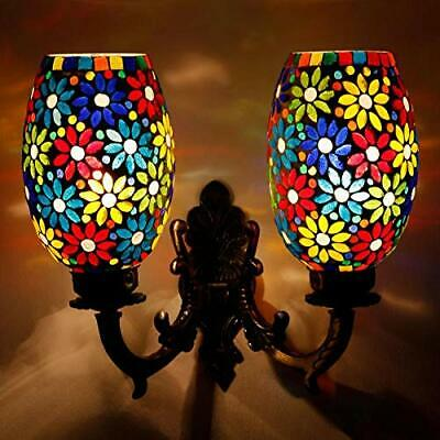 - Double Dome Flower Design Multi-Color Glass Wall Lamp Home Décor