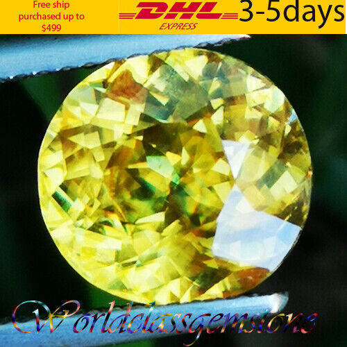 UNHEATED 3.70CT BEAUTIFUL NATURAL YELLOW OVAL SPHENE