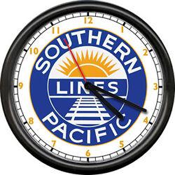 Southern Pacific Lines Retro Railroad Train Conductor Sign Wall Clock