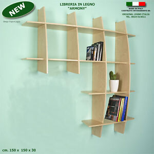 Libreria armony in legno acero componibile da parete - Libreria a parete sospesa ...