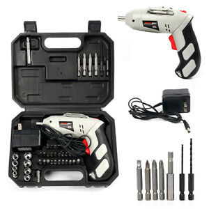 Cordless Battery Drill Power Tool 4.8V w/45Pcs Screwdriver Drill - Home work US