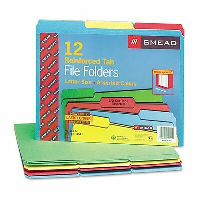 Smead 11641 File Folders Reinforced Top Tabs Letter Assorted Colors