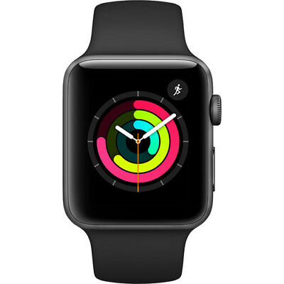 Apple Watch Series 3 42mm Aluminum Case w/ Black Sport Band