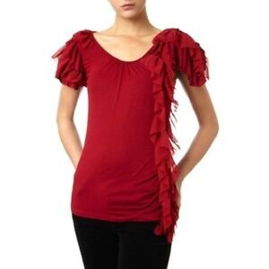 Pied-A-Terre-House-of-Fraser-Red-Side-Ruffle-Designer-Blouse-Top-Shirt-Free-Ship