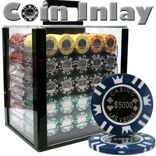 1,000ct. Coin Inlay 14g Poker Chip Set in Acrylic Carry Case