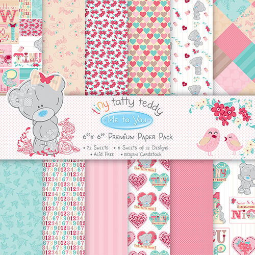 48 SHEET FULL PACK 6 x 6 ME TO YOU TINY TATTY TEDDY BABY GIRL CARD MAKING PAPER