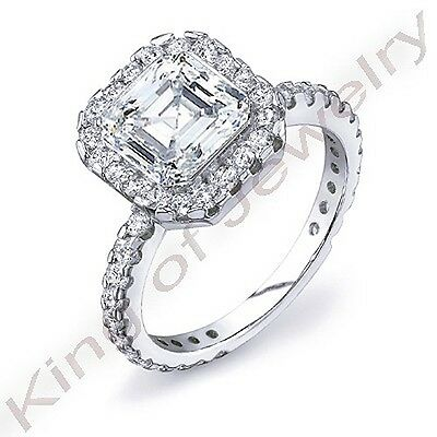 2.95 Ct Halo Square Asscher & Round U-Setting Diamond Engagement Ring G,VS1 GIA