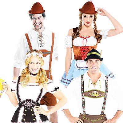 German Oktoberfest Adults Fancy Dress Bavarian Lederhosen Mens Ladies Costumes - Ladies Lederhosen Costume