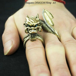 Bague Dragon bronze,dragon ring ,gothique,punk,rocker,medieval