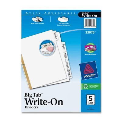 Avery Tab Divider - Letter - 8.50 X 11 - Recycled - 5 Set - White Ave23075