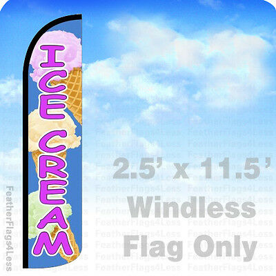 Ice Cream Windless Swooper Flag Feather Banner Sign 2.5x11.5 - Bz